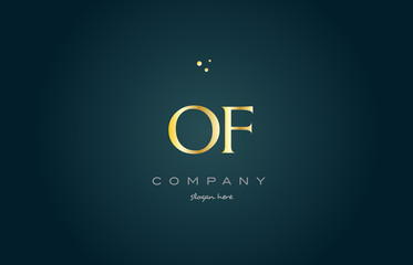 of o f  gold golden luxury alphabet letter logo icon template