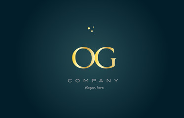og o g  gold golden luxury alphabet letter logo icon template