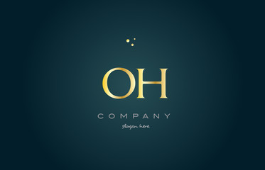 oh o h  gold golden luxury alphabet letter logo icon template