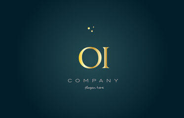 oi o i  gold golden luxury alphabet letter logo icon template