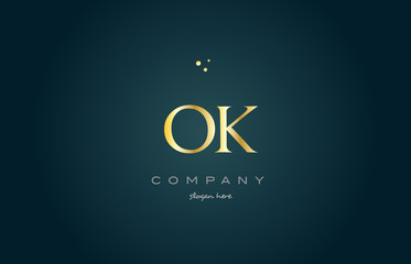ok o k  gold golden luxury alphabet letter logo icon template