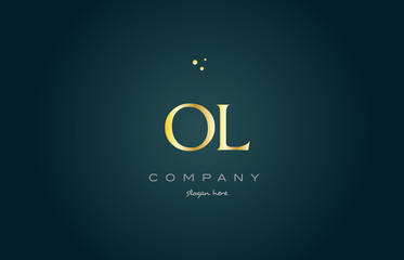 ol o l  gold golden luxury alphabet letter logo icon template