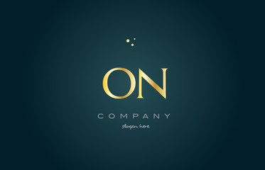 on o n  gold golden luxury alphabet letter logo icon template
