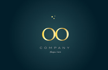 oo o  gold golden luxury alphabet letter logo icon template