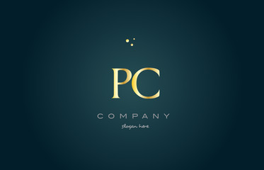 pc p c  gold golden luxury alphabet letter logo icon template