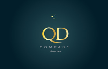 qd q d  gold golden luxury alphabet letter logo icon template