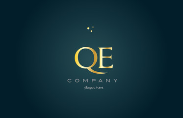 qe q e  gold golden luxury alphabet letter logo icon template