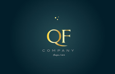qf q f  gold golden luxury alphabet letter logo icon template