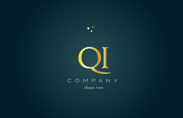 qi q i  gold golden luxury alphabet letter logo icon template