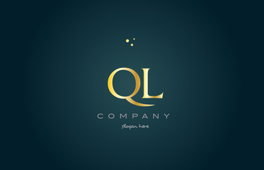 ql q l  gold golden luxury alphabet letter logo icon template