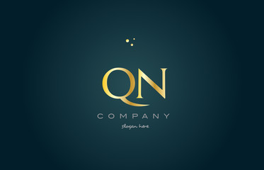 qn q n  gold golden luxury alphabet letter logo icon template