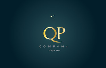 qp q p  gold golden luxury alphabet letter logo icon template