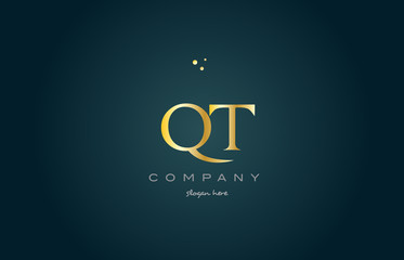 qt q t  gold golden luxury alphabet letter logo icon template