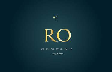 ro r o  gold golden luxury alphabet letter logo icon template