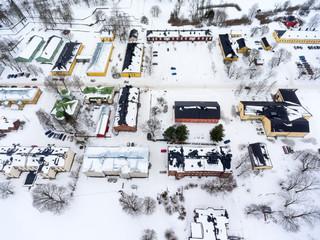 Wooden houses, church and museums of fortress of Lappeenranta (Lappeenrannan linnoitus) on Kristiinankatu street at winter season. Satamatie road passes near harbour. Lappeenranta, Finland