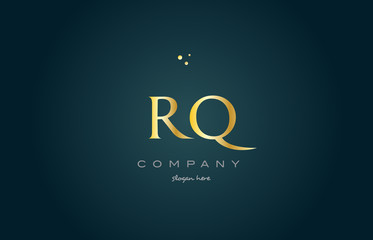 rq r q  gold golden luxury alphabet letter logo icon template