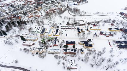 Museum buildings of fortress of Lappeenranta (Lappeenrannan linnoitus) on Kristiinankatu street at winter season. Aerial view. Lappeenranta, Finland, Europe