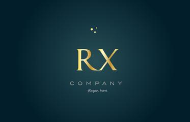 rx r x  gold golden luxury alphabet letter logo icon template