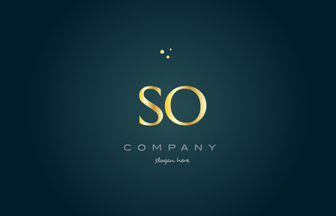 so s o  gold golden luxury alphabet letter logo icon template