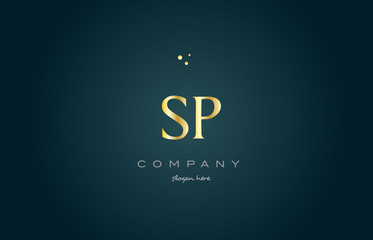 sp s p  gold golden luxury alphabet letter logo icon template