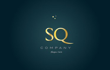 sq s q  gold golden luxury alphabet letter logo icon template