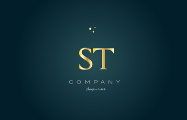 st s t  gold golden luxury alphabet letter logo icon template