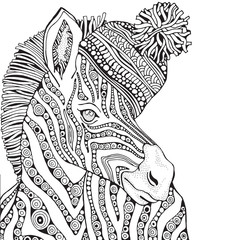 Coloring Book page for Adult and children. Zebra in zentangle style. Knitted hat. Black and white monochrome background. Doodle hand-drawn vector