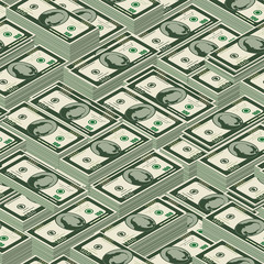 Isometric seamless pattern of dollars in bundles.