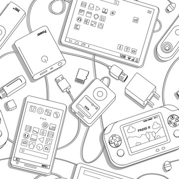 Vector seamless pattern with  gadgets. black and white