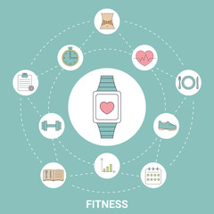 Smart watch with fitness icons.