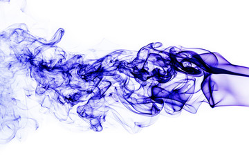 Fototapete - blue smoke on white background