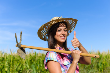 Successful farmer holding grubbing hoe against a green corn field and doing thumbs up gesture. Agriculture farming and rural lifestyle success concept.