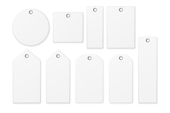 Realistic vector white blank tag icon set isolated on white background. Design template EPS10.