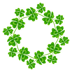 Four-leaf clovers vector round frame
