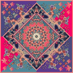 Manton or unique carpet with red flower mandala, birds, autumn maple leaves and hearts. Multicolor vector illustration. Wedding invitation, bandana print, ethnic pillowcase. Festive tablecloth.