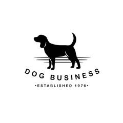 Standing dogs icon design. Dog silhouette symbol for pet business, pet sitter, breeder, dog walker, veterinarian, shelter, rescue. EPS 10 vector.