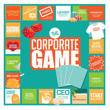 Playing the corporate game. With humorous stops and obstacles along the way, from starting in the mailroom to CEO and retirement. Flat design. EPS 10 vector.