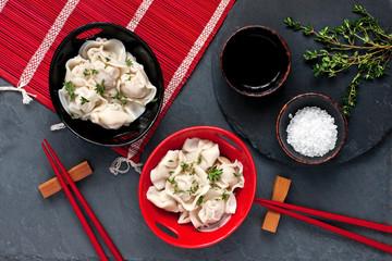 Meat dumplings, Asian style serving