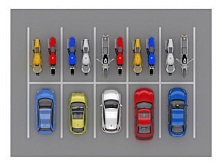 parking car and bike top view 3d rendering