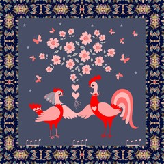 Greeting card, wedding invitation or beautiful square carpet with cute funny chicken and rooster, stylized flowering tree, ornamental frame and butterfly on dark gray background.