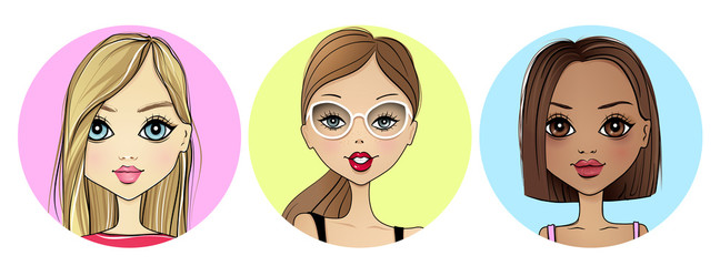 Super set with Cute vector girl avatar icon. Beauty portrait collection. Fashion illustration with young women. Stylish ladies. Trendy colors. Beautiful faces. Cartoon girls.