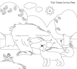 Coloring 3 little pigs 4: big bad wolf and strew house