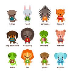 Cartoon animals. Leopard and walrus,rabbit and dog