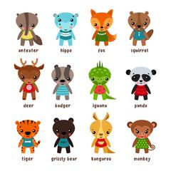 Set of isolated cartoon baby animals