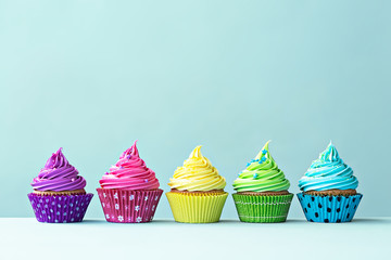 Wall Mural - Colorful cupcakes