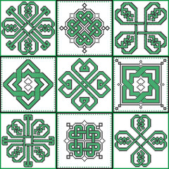 Celtic endless decorative knots selection in black and green cross stitch 9 patterns in the ceramic tile form  inspired by Irish St Patrick's day and ancient Scottish and Irish  culture