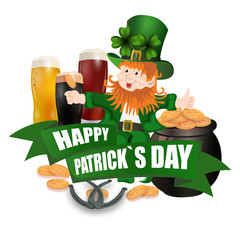 Leprechaun in a green hat. Three kinds of beer. Pot with coins. Two leaves of clover. Horseshoes. An inscription for St. Patrick s Day. Isolated on white background. illustration