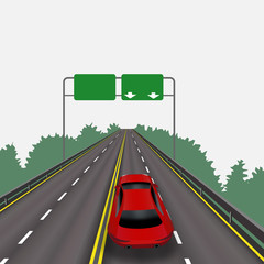 High-speed highway in perspective. Red car. Isolated on white background. Information signs. Abstract landscape. illustration