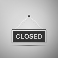 Closed door sign flat icon on grey background. Vector Illustration