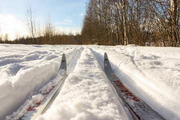 Skiing on the track.